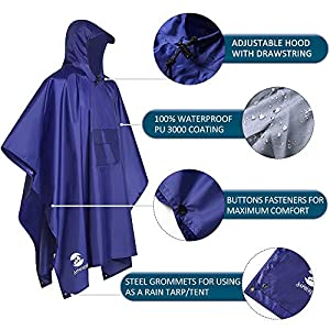 SaphiRose Hooded Rain Poncho Waterproof Raincoat Jacket for Men Women Adults