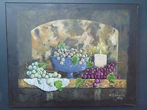 Oil painting, grape still life. Original artwork.