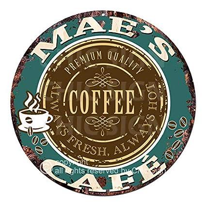 Amazon Com Mae S Coffee Cafe Chic Tin Sign Rustic Shabby