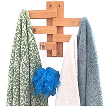 Mato Towel Bar Hanger Wood Bamboo Wall Mount Holder Organizer
