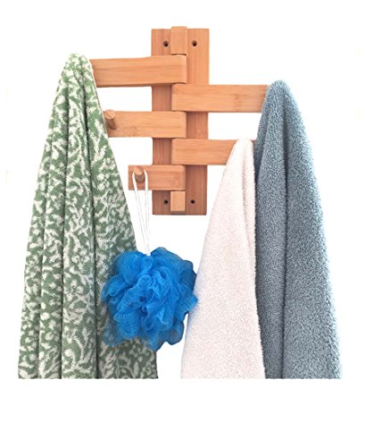 Mato Towel Bar Hanger Wood Bamboo Wall Mount Holder Organizer ()