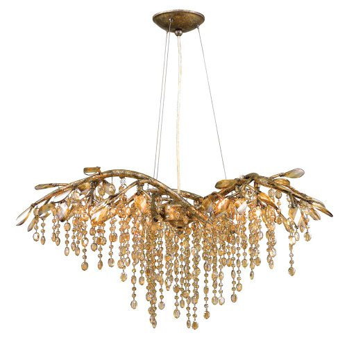 - Golden Lighting 9903-6 MG Chandelier with Amber Tinted Leaded Crystal Shades, Mystic Gold Finish