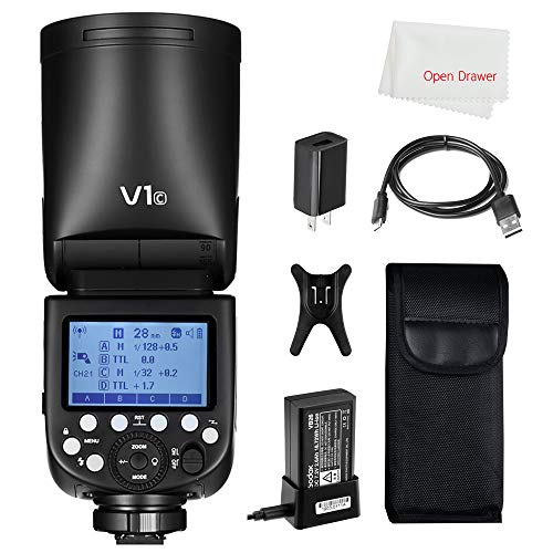 Godox V1 Flash V1-C Round Head Flash TTL On-Camera Round Flash Speedlight Compatible Canon Camera