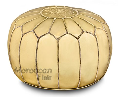 Stuffed Handmade Metallic Leather Moroccan Pouf, Ottoman (Gold (Bronze Leather Accent Table)