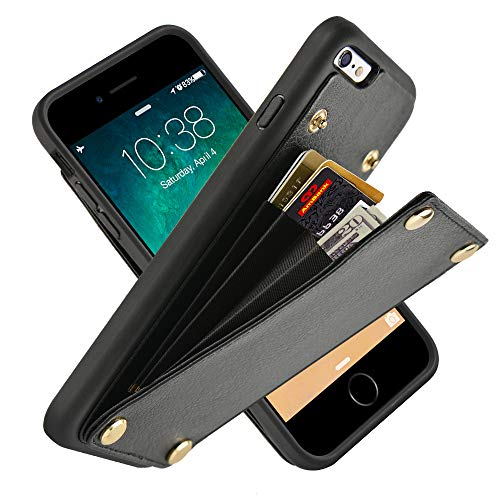 LAMEEKU iPhone 6 Wallet Case, iPhone 6s Leather Case, Shockproof iPhone 6 Card Holder Case Credit Card Slot, Protective Cover Compatible for iPhone 6s / 6 - Black