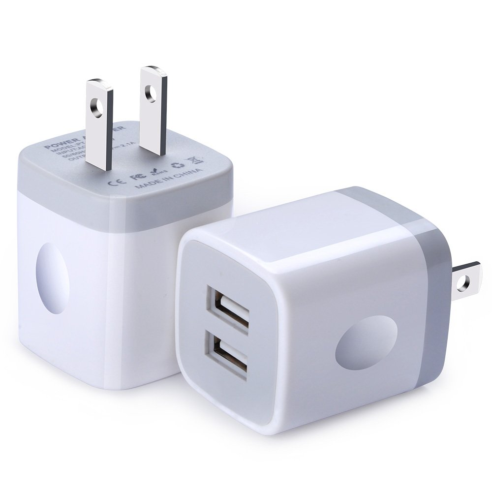 USB Wall Charger, FiveBox 2Pack Dual Port 2.1A Wall Charger Brick Base Adapter Charging Block Charger Cube Plug Charger Box for iPhone X/6/6S/7/8 Plus, iPad, Samsung, Android, LG, HTC, Nokia, Phone