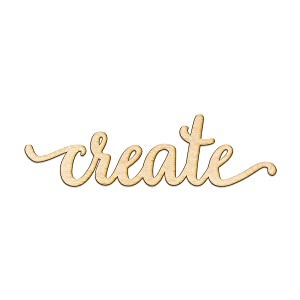 "Create Script Wood Sign Home Decor Wall Art Unfinished Charlie 8"" x 2"""