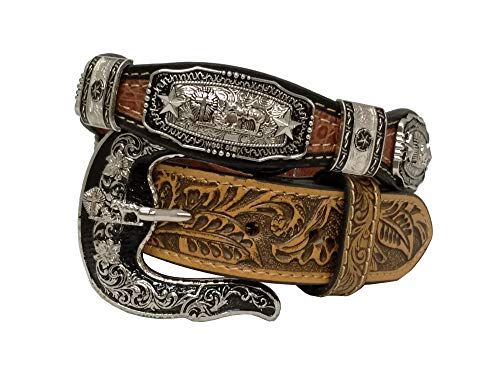 West Star Silver Crocodile Stylish Genuine Leather Cowboy Pattern Emboss 1.5 Inches Width Belt