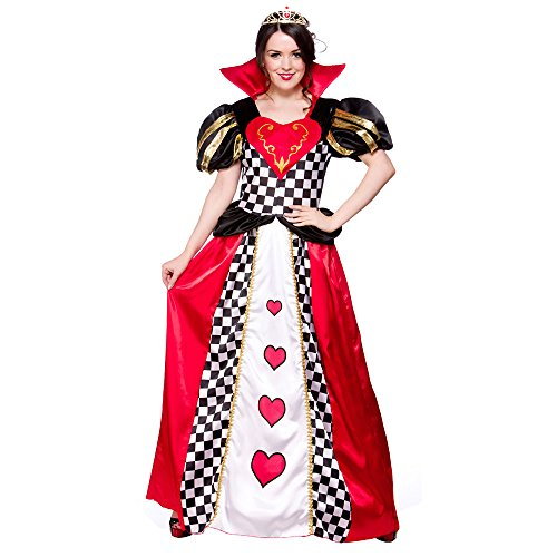 Adults Ladies Queen Of Hearts Costume for Royal Regal Ruler Leader Cosplay US Size ()