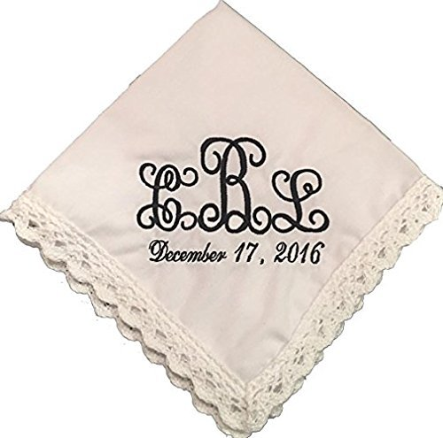 Monogram Lace/ Crocheted Wedding Handkerchief by Wedding Tokens- 100% cotton- embroidered- Bridal Party Favor- Bride Gift- -