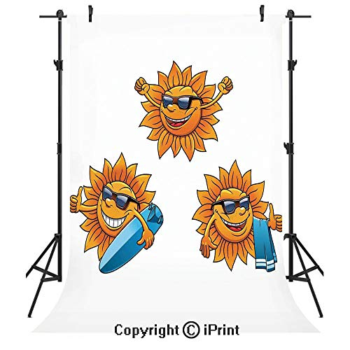 Cartoon Photography Backdrops,Surf Sun Characters Wearing Shades and Surfboards Fun Hippie Summer Kids Decor Decorative,Birthday Party Seamless Photo Studio Booth Background Banner 6x9ft,Orange White