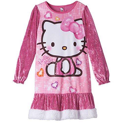 Little Girl Hello Kitty Costume (Hello Kitty Little Girl Long Sleeve Velour Night Gown 4 Pink)