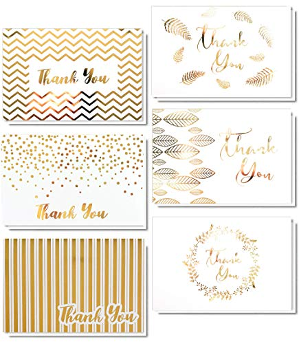- 36 Gold Foil Thank You Card | 6 Assorted Designs Blank Inside | 4 x 6 inches, Bulk Note Cards with Envelopes and Stickers | Perfect for Wedding, Bridal Shower, Baby Shower, and Business