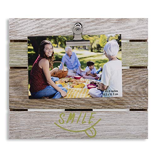 - Round Rich 4x6 Rustic Picture Frames with Clip - Ready to Stand or Hang with Built in Easel Photo Frames Beige