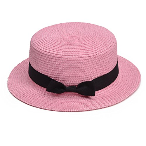 Lawliet Womens Straw Boater Hat Fedora Panama Flat Top Ribbon Summer A456 (Pink) ()