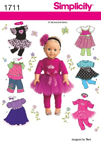 Simplicity 1711 18-Inch Doll Clothes Sewing Pattern, Size OS (One Size) Doll Wardrobe Pattern