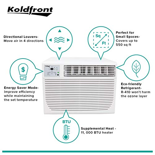 Koldfront WAC12001W 12,000 BTU 208 230V Heat Cool Window Air Conditioner