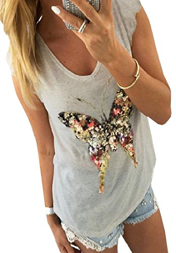 XQS Womens Girls Butterfly Glitter Sequins V Neck Sexy T-shirt 51NrKwKrYFL
