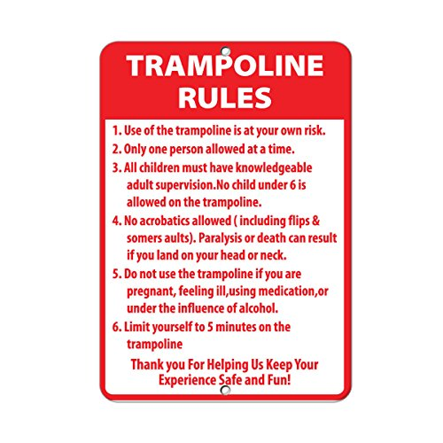 Trampoline Rules Activity Sign Park Signs Park Rules Signs Aluminum METAL Sign 9 in x 12 in ()