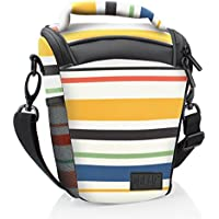 DSLR Camera Case Bag with Top Loading Accesibility , Shoulder Sling and Weather Resistant Bottom by USA Gear - Works With Canon , Nikon , Sony , Pentax and More - Striped