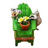 ADIRONDACK CHAIR W/CAT- WATERING CAN AND PLANT - LIMOGES BOX AUTHENTIC PORCELAIN FIGURINE FROM FRANCE