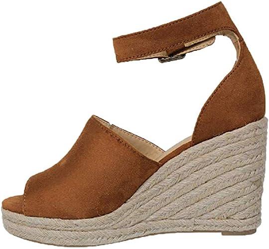 Chaussures Femme ete Sandales Compensees Femme Noir Chaussures Compensées Femme à Respirant Chaussures à Bride à la Cheville Sandales Bouche de
