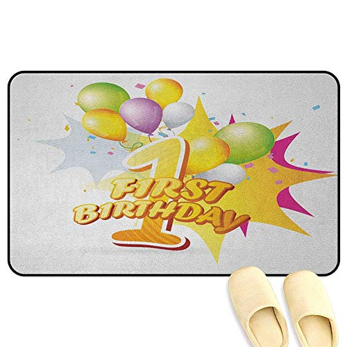 homecoco 1st Birthday Bathroom Rug Carpet First Celebration Event Excitement for Baby with The Party Balloons Hot Pink and Yellow 3D Digital Printing Mat W19 x L31 -