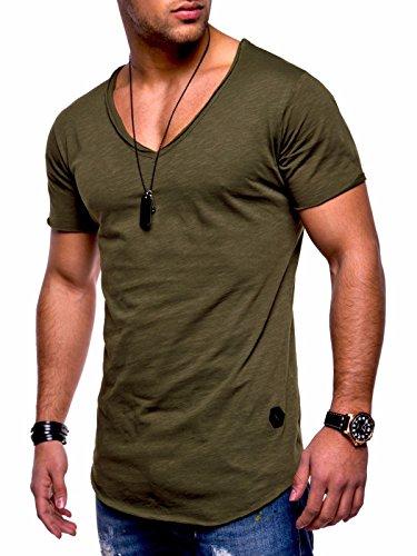 Behype Men's Basic T-Shirt Polo Muscle Tee Casual Tops MT-7102 (XL,Green) -