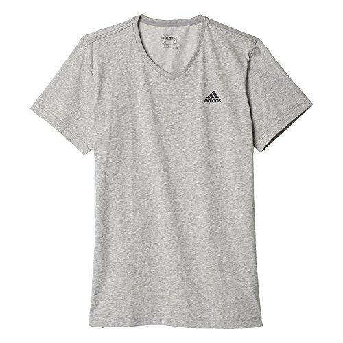 adidas Herren T-shirt ESS V-NECK TEE, Grau/Schwarz, L, 4056562680088