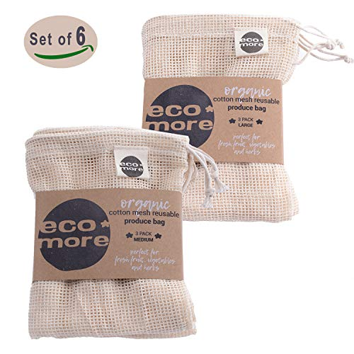 - [6-Pack] eco&more️ 100% Organic Reusable Cotton Produce Bags. Washable Mesh Net Bags. 3XL & 3xM - Organic GOTS Certified Cotton. Storage for Fruit Vegetables Herbs Pasta Dry Produce