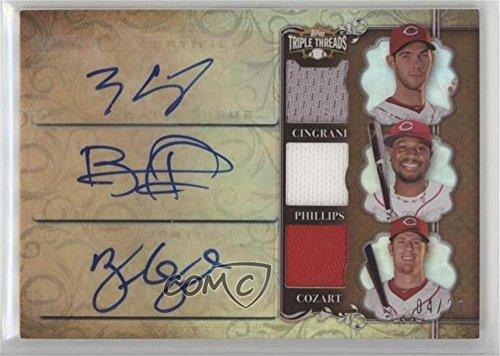 Tony Cingrani; Brandon Phillips; Zack Cozart #4/27 (Baseball Card) 2013 Topps Triple Threads - Autograph Relic Combos - Sepia #TTARC-CPC