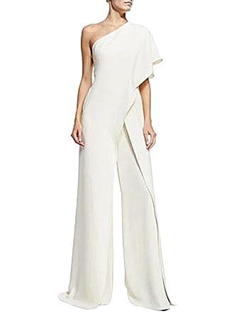 ZiXing Femme Combinaisons Chic sans Manches Jumpsuit Rompers Longues  Pantalons Ensembles Blanc Small eb6d4755ba7
