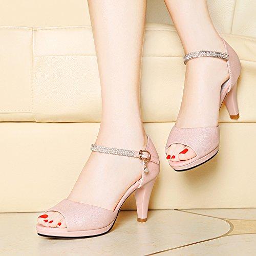 Hæle Sandaler Pink Kvinder Sommer Mode Høje Gul Komfortable 40 1AqxwXzB4