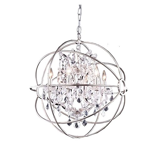 Elegant Lighting Geneva Collection 1130D25PN/RC 6-Light Pendant Lamp with Royal Cut Crystals, Polished Nickel Finish from Elegant Lighting