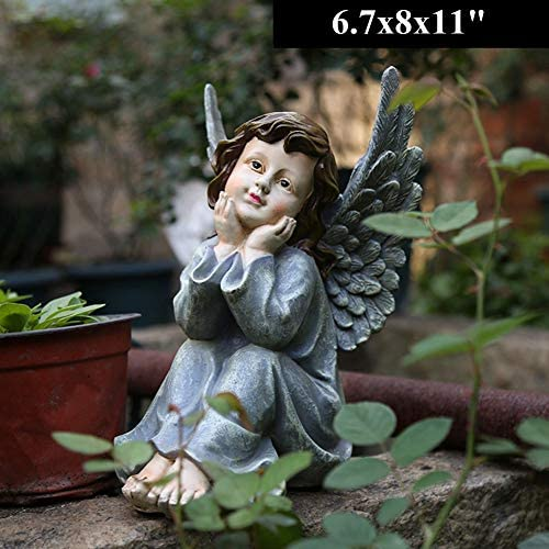 HomDSim 11 Winged Angel Watching The Sky Garden Statue Angel Figurine