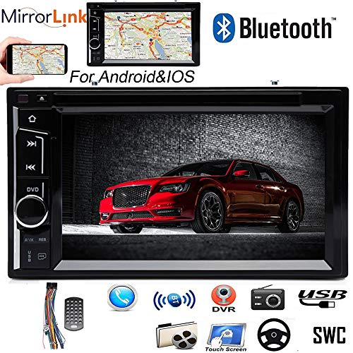 Double Din DVD Player Car Stereo 6.2-Inch Bluetooth Touch Screen Mirror Link SWC Aux-in Subwoofer AM FM Radio Music Player for Chrysler 300 2005 2006 2007 ()