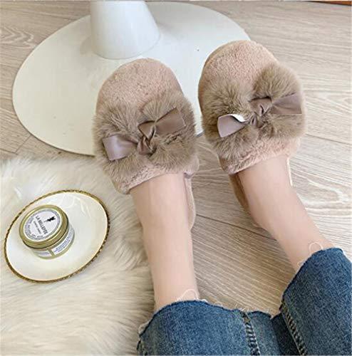 Zapatillas De Casa para Mujer De Invierno Color Sólido Corbata De ...