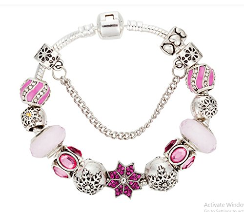 QUEEN JULIA | European Charm Beads Bracelet With Heart Purple Leaves Charming For Women Girls for Valentines Birthday