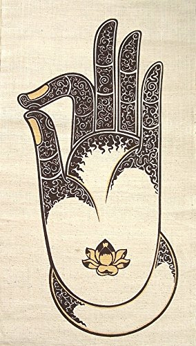 Amazon Hemp Wall Hanging Batik Tapestry Buddha Vitarka Gyan