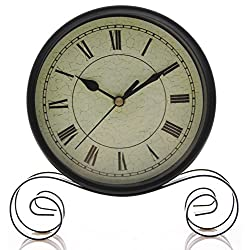 Vintage, Classic, Antique Style Table/Desk Clock for Office Desk/Dining Table/ Kitchen Countertop - 6 Round Classic Black