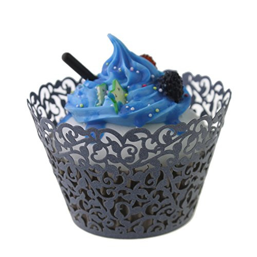 Yansanido 24 set black Filigree Artistic Bake Little Vine Lace Laser Cut Cupcake Wrapper Cup Muffin Case Trays Collars Wrappers(24pcs black)