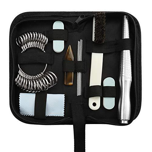 (Accmor Ring Sizer Measuring Tool Including Mini Ring Mandrel, Ring Sizer Guage, Ring Sizer Adjuster, Jewelry Polishing Cloth, Polishing Stick,)