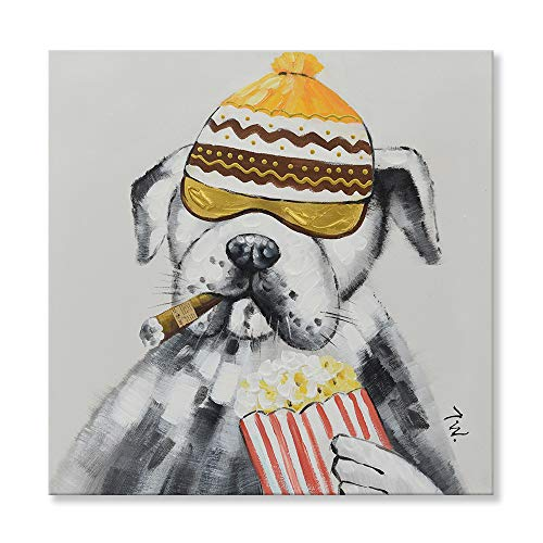JAPO ART - Animal Cool Smoking Dog 100% Hand Painted Oil Painting with Stretched Frame Wall Art for Kids Room Living Room 24 x 24 Inch