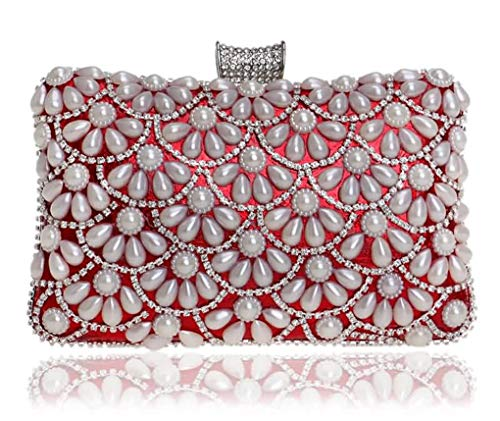 Jancerkmou Evening Bags Pearls Ladies Day Clutch Purses Female Beaded with Chain Wedding Mini Shoulder Bag red