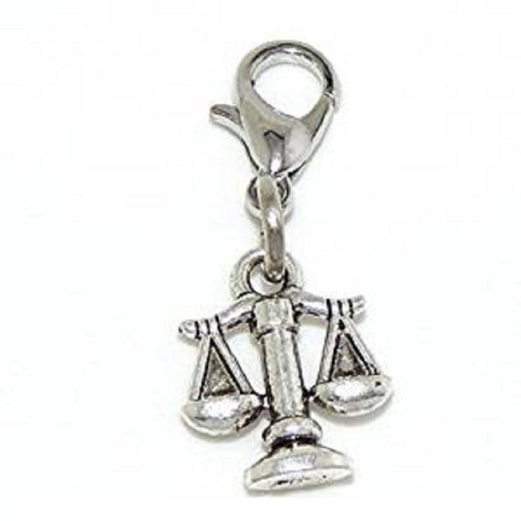 GemStorm Silver Plated Dangling Scales of Justice Clip On Lobster Clasp Charm