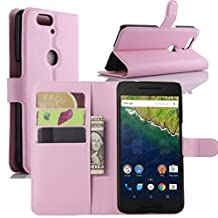 Nexus 6P Case, Premium Leather Wallet Case Cover with Stand Card Holder for Huawei Google Nexus 6P / 6 2nd Gen 2015 Phone (Wallet - Pink)