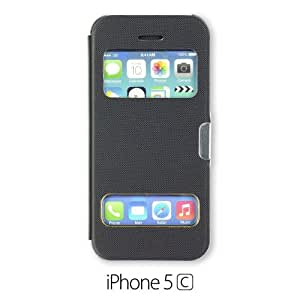 OnlineBestDigital - Premium Quality Double View Flip Case Cover for Apple iPhone 5C - Black