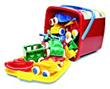 "Viking Vehicles & Boats Bucket Set - 15 Piece Assortment of 4"" Primary Color Cars, Trucks and Boats"