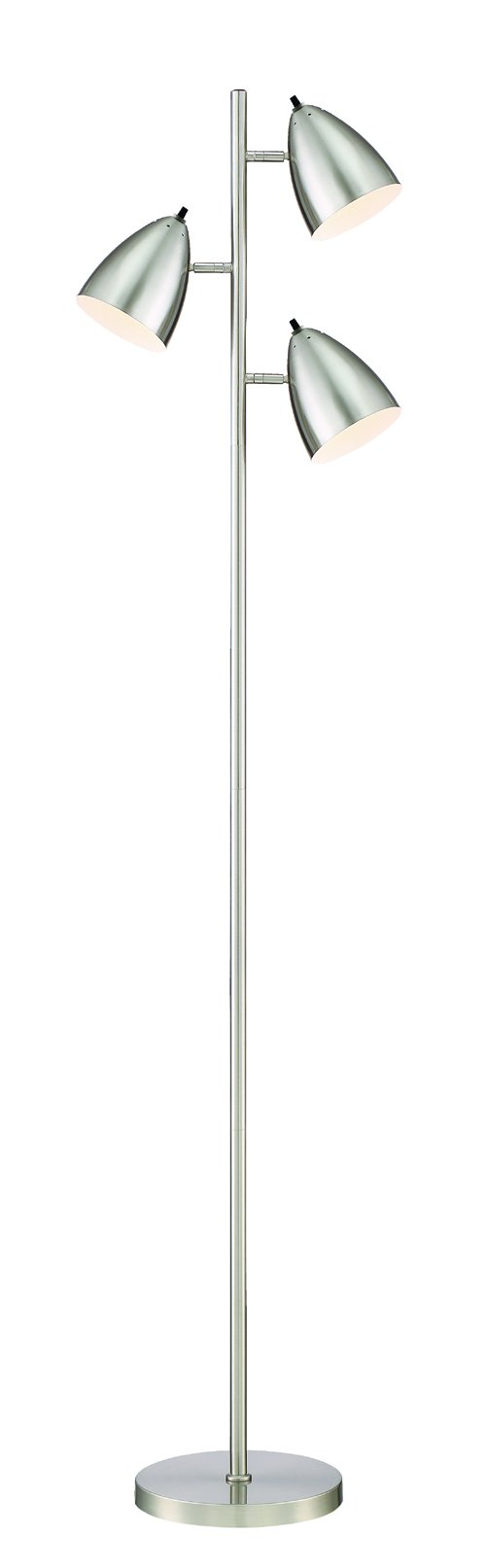 HomeFocus 3-Light Tree Floor Lamp Light,Living Room Floor Lamp Light,Bedroom Floor Lamp Light,Metal,Satin Nickel,Suitable for Home and Hotel. (Satin Nickel)