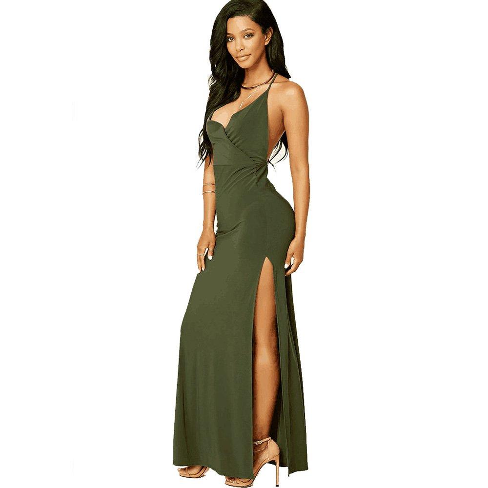 Mr. FF Women s V Neck High Slit Front Cross Slit Dress a91b15404